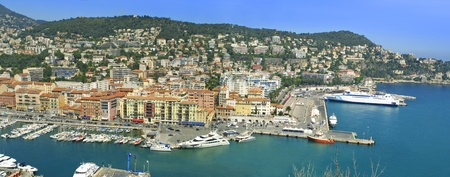 nice  france: Panoramic view of sea port of City of Nice, Cote d Stock Photo