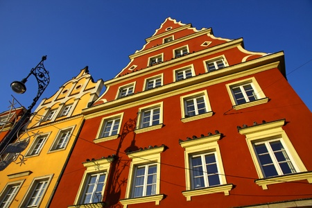 Colourful buildings on the market square in Wroclaw city, Poland  photo