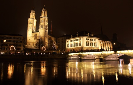 Zurich downtown at night, Switzerland photo