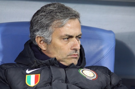 KYIV, UKRAINE - NOVEMBER 4, 2009: Head coach of FC Inter Milano Jose Mourinho looks on during UEFA Champions League football match against Dynamo Kyiv on November 4, 2009 in Kiev, Ukraine