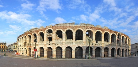 Ancient roman amphitheatre Arena in Verona, Italy. Most famous open air theater in the world 写真素材