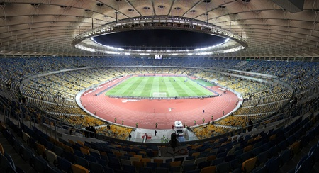 KYIV, UKRAINE - NOVEMBER 11, 2011: Panoramic view of Olympic stadium (NSC Olimpiysky) during friendly football game between Ukraine and Germany on November 11, 2011 in Kyiv, Ukraine. There is 1st game on this stadium after reconstruction
