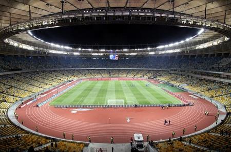 KYIV, UKRAINE - NOVEMBER 11, 2011: Panoramic view of Olympic stadium (NSC Olimpiysky) during friendly football game between Ukraine and Germany on November 11, 2011 in Kyiv, Ukraine. There is 1st game on this stadium after reconstruction Stock Photo - 12142385
