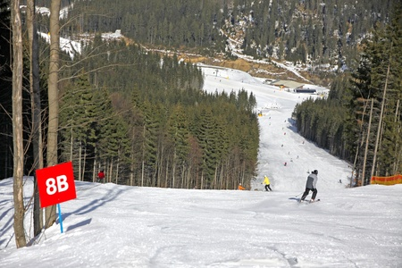 Ski track of Bukovel ski resort, Carpathian mountains, Ukraine photo