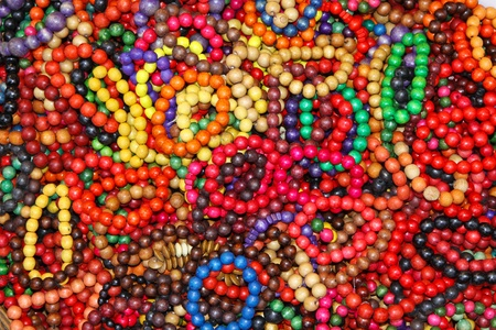 Close-up wooden colourful handmade bracelets Stock Photo - 12389812