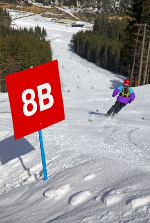 Marked ski track of Bukovel ski resort, Carpathian mountains, Ukraine photo