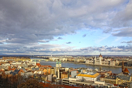 Budapest city, Hungary. View to Danube river and famous building of Hungarian Parliament photo