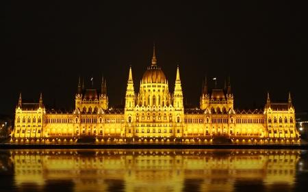 Hungarian Natioanl Parliament Building at night, Budapest, Hungary Stock Photo - 12389823