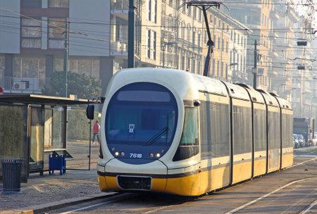 Modern tram in Milan, Italy