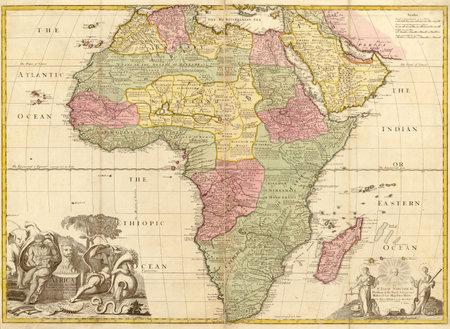 Afrika의 높은 품질의 고대지도 (18 세기 경)