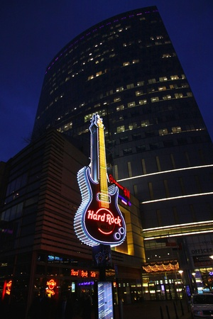 WARSAW, POLAND - DECEMBER 29, 2011: Hard Rock Cafe signboard at the city of Warsaw, Poland on December 29, 2011