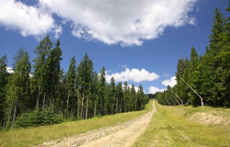 Ski track in summer  Bukovel ski resort, Carpathian mountains, Ukraine Stock Photo - 12712965
