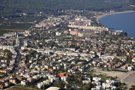 Aerial view of Kemer city, Mediterranean seacoast, Turkey photo