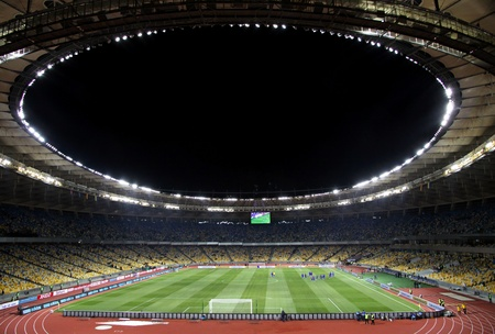 olimpiysky: KYIV, UKRAINE - NOVEMBER 11, 2011: Panoramic view of Olympic stadium (NSC Olimpiysky) during friendly football game between Ukraine and Germany on November 11, 2011 in Kyiv, Ukraine. There is 1st game on this stadium after reconstruction