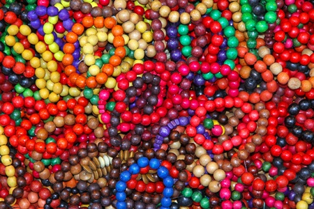 Close-up wooden colourful handmade bracelets Stock Photo - 12899732