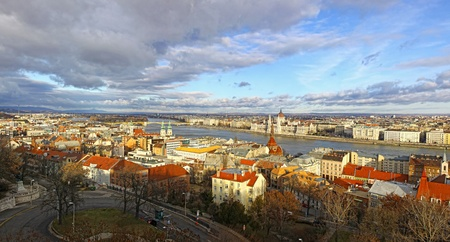 Panorama of Budapest city, Hungary. View to Danube river and famous building of Hungarian National Parliament photo