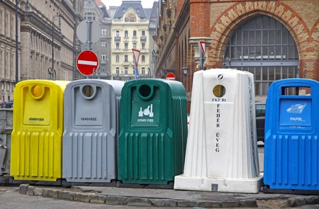 Five recycle bins for waste segregation in Budapest, Hungary