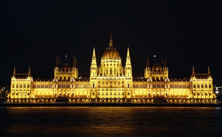 Hungarian National Parliament Building at night, Budapest, Hungary photo