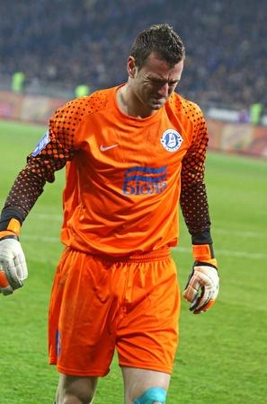 KYIV, UKRAINE - MARCH 18, 2012: Goalkeeper Jan Lastuvka of FC Dnipro reacts after missed a goal during Ukraine Championship game against FC Dynamo Kyiv on March 18, 2012 in Kyiv, Ukraine