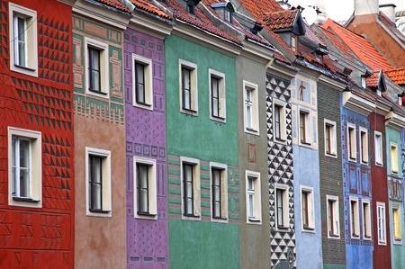 Close-up colourful houses at Old Market Square in Poznan, Poland