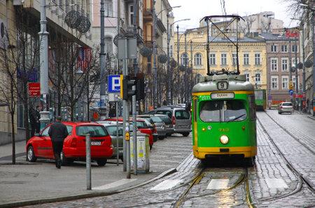Vintage trams on a street of Poznan city, Poland