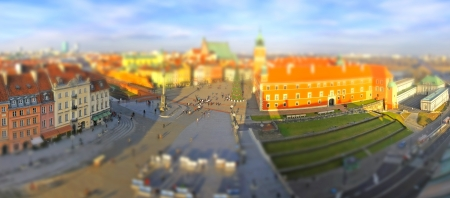 Panoramic view of Old Town Square (Plac Zamkowy) in Warsaw, Poland (Tilt-shift miniature effect)  photo