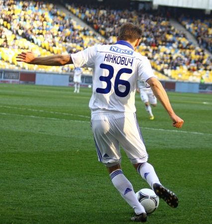 KYIV, UKRAINE - APRIL 14, 2012: Milos Ninkovic of Dynamo Kyiv controls a ball during Ukraine Championship game against Vorskla Poltava on April 14, 2012 in Kyiv, Ukraine Stock Photo - 13685613