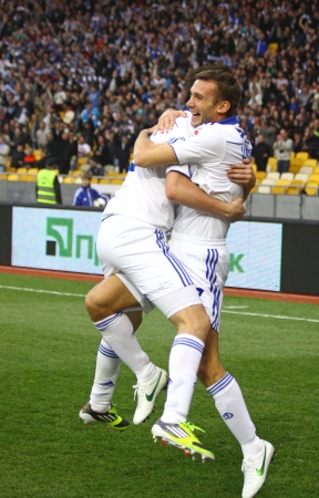 KYIV, UKRAINE - APRIL 14, 2012: Andriy Shevchenko of Dynamo Kyiv (R) reacts after he scored a goal during Ukraine Championship game against Vorskla Poltava on April 14, 2012 in Kyiv, Ukraine Stock Photo - 13685614