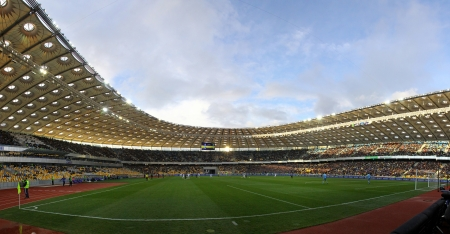 KYIV, UKRAINE - APRIL 1, 2012: Panoramic view of Olympic stadium (NSC Olimpiysky) during Ukraine Championship game between FC Dynamo Kyiv and FC Chornomorets on April 1, 2012 in Kyiv, Ukraine