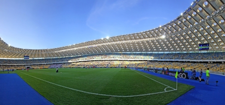 olimpiysky: KYIV, UKRAINE - MAY 10, 2012: Panoramic view of Olympic stadium (NSC Olimpiysky) during Ukraine Championship game between FC Dynamo Kyiv and FC Tavriya on May 10, 2012 in Kyiv, Ukraine
