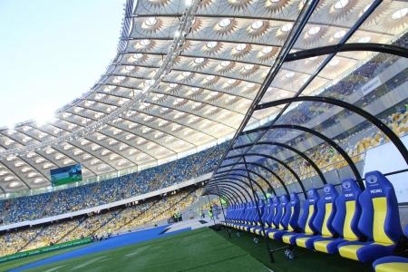 KYIV, UKRAINE - MAY 10, 2012: Interior view of Olympic stadium (NSC Olimpiysky) during Ukraine Championship game between FC Dynamo Kyiv and FC Tavriya on May 10, 2012 in Kyiv, Ukraine