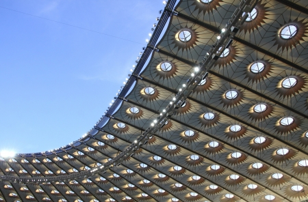 olimpiysky: KYIV, UKRAINE - MAY 10, 2012: Close-up view of modern roof of Olympic stadium (NSC Olimpiysky) on May 10, 2012 in Kyiv, Ukraine