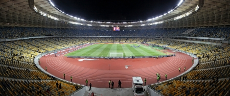 KYIV, UKRAINE - NOVEMBER 11, 2011: Panoramic view of Olympic stadium (NSC Olimpiysky) during friendly football game between Ukraine and Germany on November 11, 2011 in Kyiv, Ukraine. There is 1st game on this stadium after reconstruction Stock Photo - 13887774