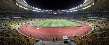olimpiysky: KYIV, UKRAINE - NOVEMBER 11, 2011: Panoramic view of Olympic stadium (NSC Olimpiysky) during friendly football game between Ukraine and Germany on November 11, 2011 in Kyiv, Ukraine. There is 1st game on this stadium after reconstruction