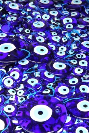 Traditional turkish eye-shaped amulets  nazar boncugu  at the Istanbul bazaar  写真素材