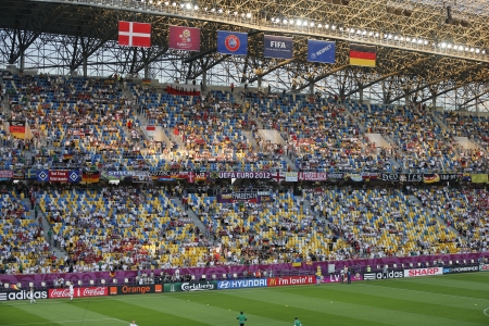 LVIV, UKRAINE - JUNE 17, 2012: Tribunes of Arena Lviv stadium during UEFA EURO 2012 game between Germany and Denmark on June 17, 2012 in Lviv, Ukraine