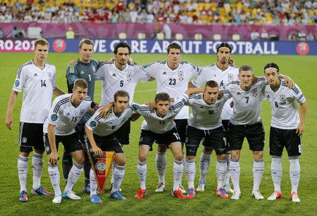 LVIV, UKRAINE - JUNE 17, 2012: Germany national football team pose for a group photo before UEFA EURO 2012 game against Denmark on June 17, 2012 in Lviv, Ukraine