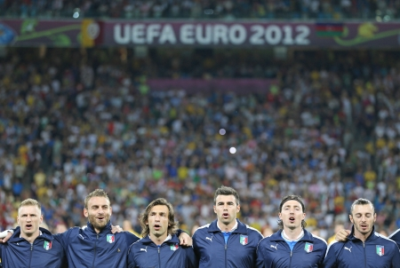 hymn: KYIV, UKRAINE - JUNE 24, 2012: Italy football team players sing the national hymn before UEFA EURO 2012 game against England on June 24, 2012 in Kyiv, Ukraine