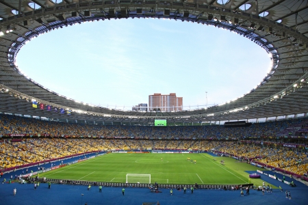 olimpiysky: KYIV, UKRAINE - JUNE 11, 2012: Panoramic view of Olympic stadium (NSC Olimpiysky) during UEFA EURO 2012 game between Ukraine and Sweden on June 11, 2012 in Kyiv, Ukraine