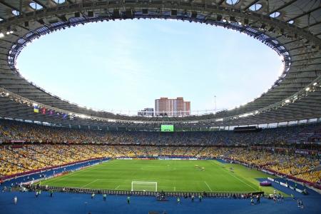 olimpiysky: KYIV, UKRAINE - JUNE 11, 2012: Panoramic view of Olympic stadium (NSC Olimpiysky) during UEFA EURO 2012 game between Ukraine and Sweden on June 11, 2012 in Kyiv, Ukraine