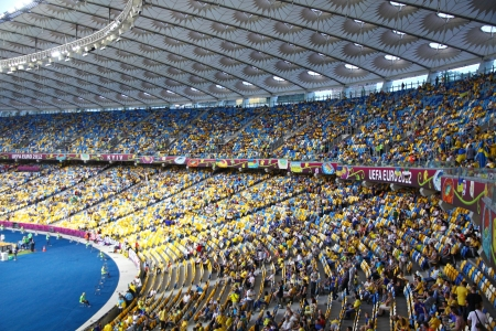 olimpiysky: KYIV, UKRAINE - JUNE 11, 2012: Tribunes of Olympic stadium (NSC Olimpiysky) during UEFA EURO 2012 game between Ukraine and Sweden on June 11, 2012 in Kyiv, Ukraine Editorial