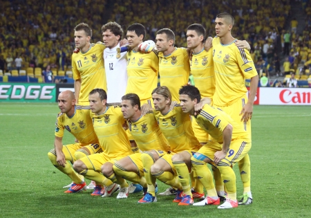 KYIV, UKRAINE - JUNE 11, 2012: Ukraine national football team pose for a group photo before UEFA EURO 2012 game against Sweden on June 11, 2012 in Kyiv, Ukraine Editorial
