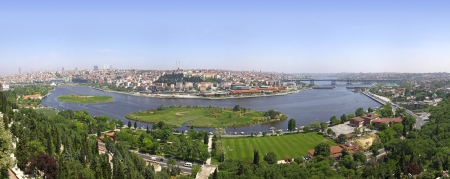 Istanbul city, Turkey  Panoramic view of Golden Horn from Eyup-Pierre Loti Point photo