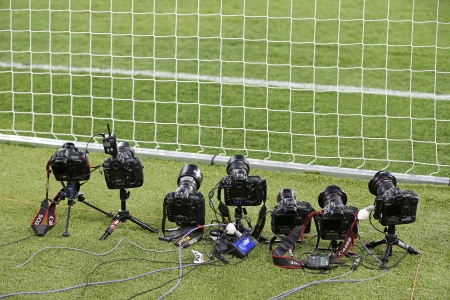 KYIV, UKRAINE - JUNE 24, 2012: Remote control photocameras stand on the field during UEFA EURO 2012 game against Italy and England on June 24, 2012 in Kyiv, Ukraine