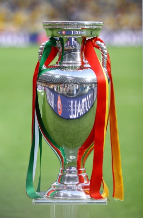 KYIV, UKRAINE - JULY 1, 2012: UEFA EURO 2012 Football Trophy (Cup) presents during final game between Spain and Italy at NSC Olympic stadium on July 1, 2012 in Kyiv, Ukraine