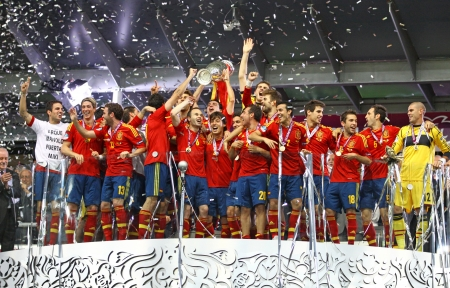 KYIV, UKRAINE - JULY 1, 2012: Spain national football team celebrates their winning of the UEFA EURO 2012 Championship after the game against Italy at NSC Olympic stadium on July 1, 2012 in Kyiv, Ukraine Stock Photo - 14514502