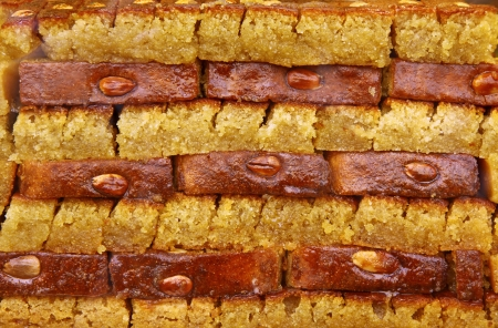 multi layered: Traditional Turkish baklava  sweet dessert made of thin pastry, nuts and honey  Stock Photo