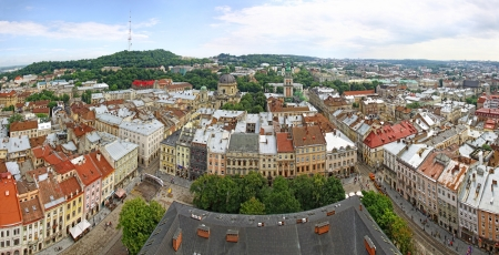 Panoramic view of Market Square and Old town of Lviv city, Ukraine