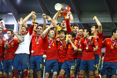 KYIV, UKRAINE - JULY 1, 2012: Spain national football team celebrates their winning of the UEFA EURO 2012 Championship after the game against Italy at NSC Olympic stadium on July 1, 2012 in Kyiv, Ukraine