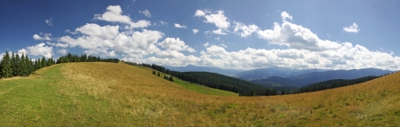 Panoramic view of beautiful summer Carpathian mountains, Ukraine Stock Photo - 15067152